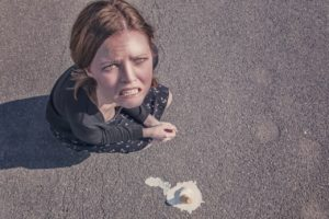 Woman dropped an ice cream cone